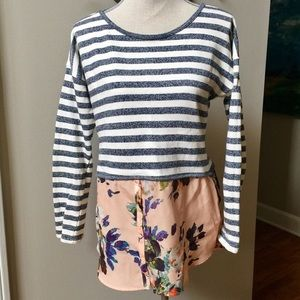 Anthro Postmark Stripe and Floral Layer top